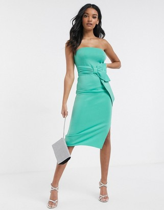 Laced In Love bandeau midi scuba dress with bow detail in green