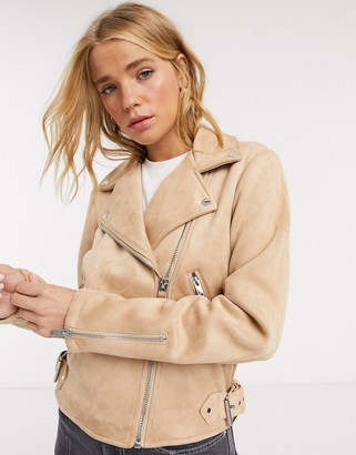 Pimkie faux suede biker jacket in beige