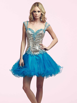 Mac Duggal Beaded A Line Cocktail Dress in Turquoise 82095N