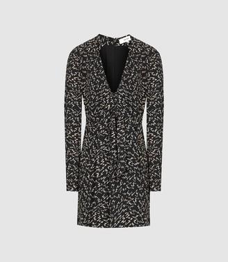 Reiss Julia - Plunge Front Mini Dress in Black