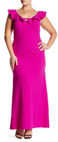 ABS by Allen Schwartz Deep V-Neck Ruffled Gown (Plus Size)