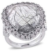 Concerto 7.85 CT TCW Black Rutile and White Topaz Sterling Silver Ring