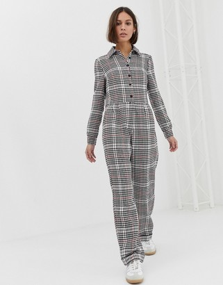 Asos Design DESIGN boilersuit in brushed check print-Multi