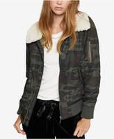Sanctuary Faux-Fur-Trim Camo-Print Bomber Jacket
