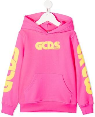 Gcds Kids Logo-Print Cotton Hoodie