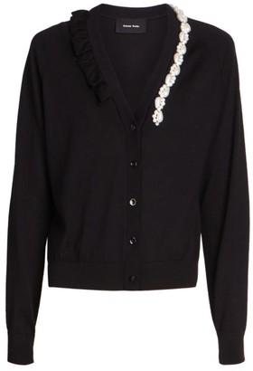 Simone Rocha Beaded Ruffle Wool & Silk Knit Cardigan