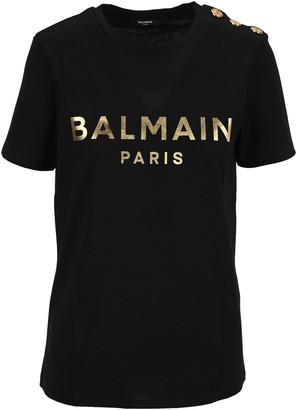 Balmain Button Detail Logo Printed T-Shirt