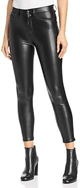 The Kooples Faux-Leather Mid-Rise Skinny Jeans in Black