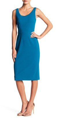 Betsey Johnson Scoop Neck Sleeveless Crepe Midi Dress