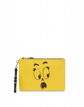 Moschino Pumpkin Faces Clutch Woman Yellow Size U It - (one Size Us)