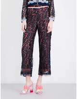 Peter Pilotto Embroidered-detail wide-leg lace trousers