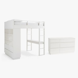 Pottery Barn Teen Bowen Loft Bed & 6-Drawer Dresser Set