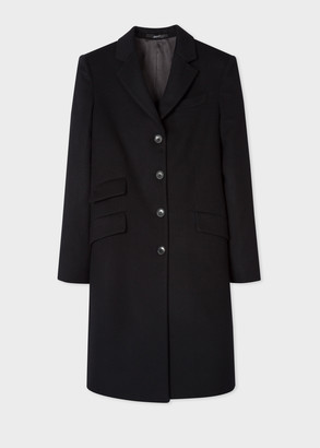 Women's Black Four-Button Wool-Cashmere Epsom Coat
