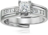 Kobelli 1 cttw Princess-Cut Diamond 14k White Gold Wedding Ring Set, Size 6