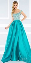 Mac Duggal Scooped Crystalized V-Back Satin Ball Gown