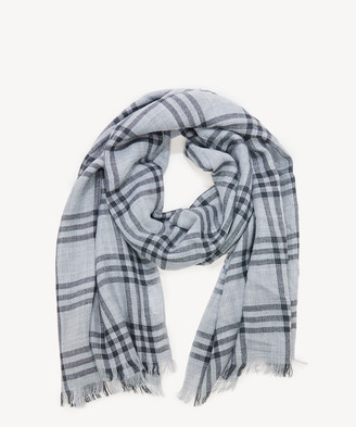 Sole Society Women's Lightweight Plaid Scarf With Fringe Grey Multi From