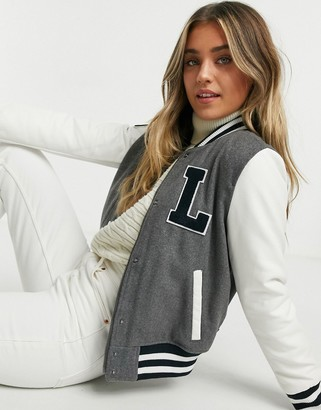 Levi's Letterman varsity bomber jacket with contrast sleeves in gray