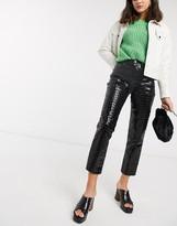 Topshop Editor jeans in black croc