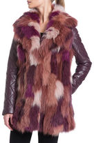 Badgley Mischka Fox Fur Patchwork and Leather Coat