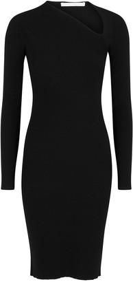 Helmut Lang Black asymmetric ribbed dress