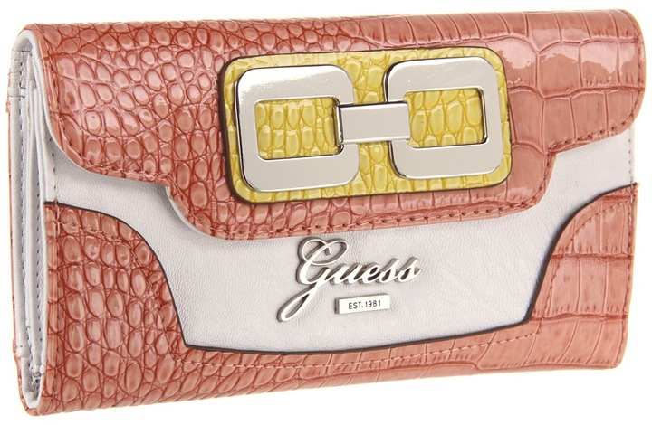 GUESS Mikelle Multi Clutch (Coral Multi) - Bags and Luggage