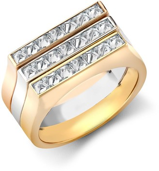 Pragnell 18kt gold diamond three row RockChic ring