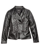 GUESS Faux Leather Bomber Jacket, Big Girls (7-16)