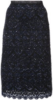 Oscar de la Renta embroidered skirt - women - Silk/Wool/Polyester - S
