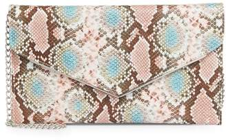 Call it SPRING Perilla Embossed Snakeskin Clutch