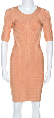 Herve Leger Cream Knit Helena Novelty Essentials Dress XS