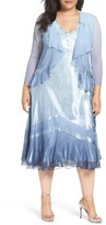 Komarov Plus Size Women's Charmeuse & Chiffon Waterfall Jacket Dress