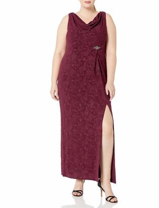 Alex Evenings Women's Plus Size Long Fitted Elegant Dress