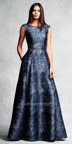 Aidan Mattox Marled Box Pleated Evening Gown