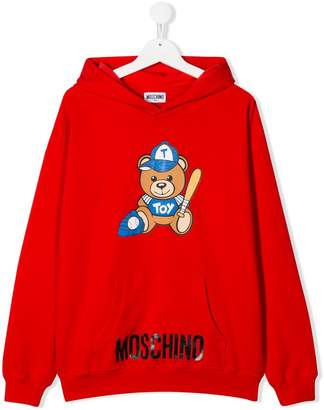 Moschino Kids TEEN bear print hoodie