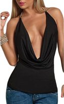 Suvimuga Women's Elegant Deep V-Neck Halter Ruched Backless Blouse T-Shirt M