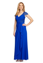 Alex Evenings 132860 Embroidered Side Cascade Long Gown