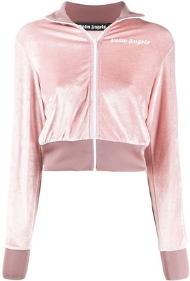 Palm Angels Velvet Cropped Zipped Jacket