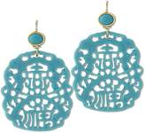 Kenneth Jay Lane Carved Blue Resin Drop Earrings
