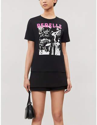 Maje Rebelle screen-printed cotton T-shirt
