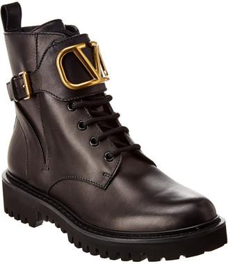 Valentino Vlogo Combat 35 Leather Boot
