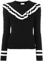 RED Valentino cable knit frill jumper - women - Cotton - XL