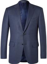 Canali Blue Slim-Fit Slub Wool Travel Blazer