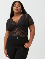 V By Very Curve Stretch Lace Scallop Edge Top - Black