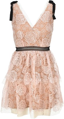 Self-Portrait Starlet Mini Rose Lace Dress
