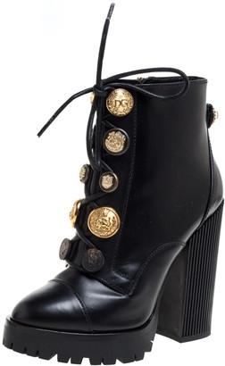 Dolce & Gabbana Black Leather Pearl/Button Embellished Platform Combat Ankle Boots Size 38