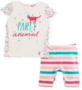 Joules Party Animal Graphic T-Shirt w/ Striped Leggings, Size 3-24 Months