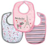 Hamco Oh La La 3-Pack Water-Resistant Infant Bib in Pink /Grey