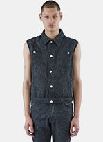 Telfar Men's Sleeveless Embroidered Denim Vest In Black