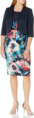 Maya Brooke Women's Floral Jacket Dress Navy/Coral 10
