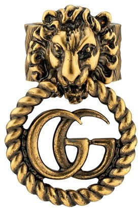 Gucci Lion head Double G ring